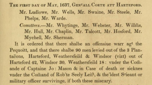 "May 1 Declaration of the Pequot War. Page lifted from the ""Public Records of the Colony of Connecticut"" edited by J. H. Trumbull."