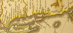 Early Dutch map of south eastern Connecticut coastline