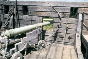 "A reproduction 17th Century ""Saker"" mounted on a wall of a fortification similar to Saybrook Fort."