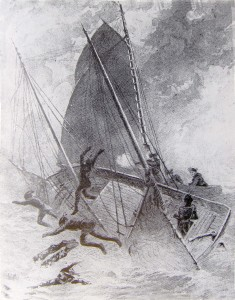 Artist depiction (ca. 1888) of Capt. Gallup's attack to retake Oldham's ship off Block Island.