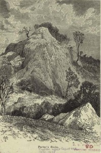 "Sketch of the Porter's Rocks outcroppings and campsite from the ""Popular History of the United States 1876"""