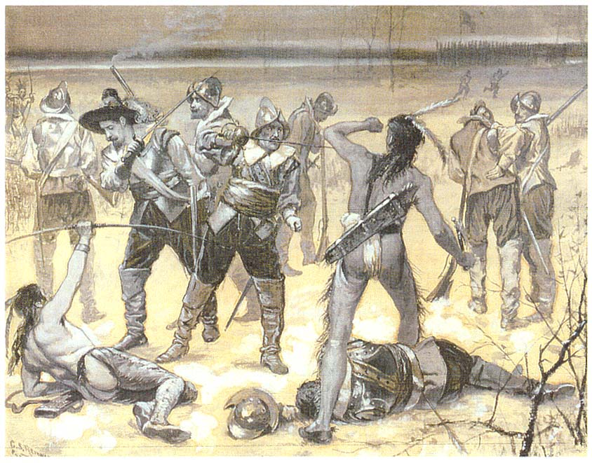 This 1890 watercolor by Charles Reinhart depicts Lieutenant Lion Gardiner and his forces clashing with Pequot warriors at Saybrook Fort.