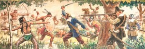 "A ca. 1936 WPA Mural depicting the ""Pequot Swamp Fight"" of July 1637."